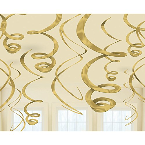 - amscan 67055.19 Plastic Swirl Decorations - Gold, Multi Color