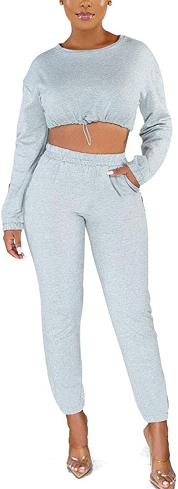 Womens Sweatsuits Sets 2 Piece Tracksuit Outfits Long Sleeve Hoodie Crop Top Sweatpants Set