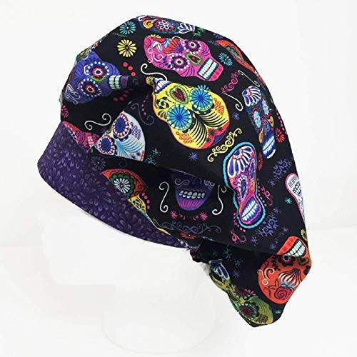 Bouffant Scrub Hat Scrub Cap Scrub Hats for Women Day of the Dead -