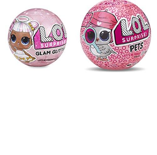 L.O.L. Surprise! Bundle of 2 Dolls LOL Glam Glitter Doll & LOL Eye Spy Pets Series -
