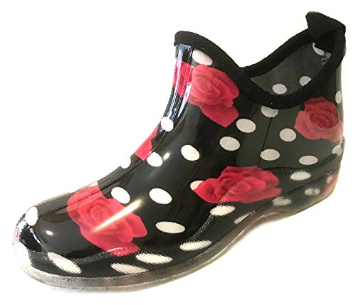 sh18es Shoes8teen Womens Short Rain Boots Prints & Solids 1118 Red Rose 11 ()