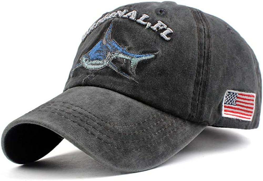 Men's Original FL Shark Baseball Cap Embroidered US Flag Vintage Denim Adjustable Dad Hat: Clothing