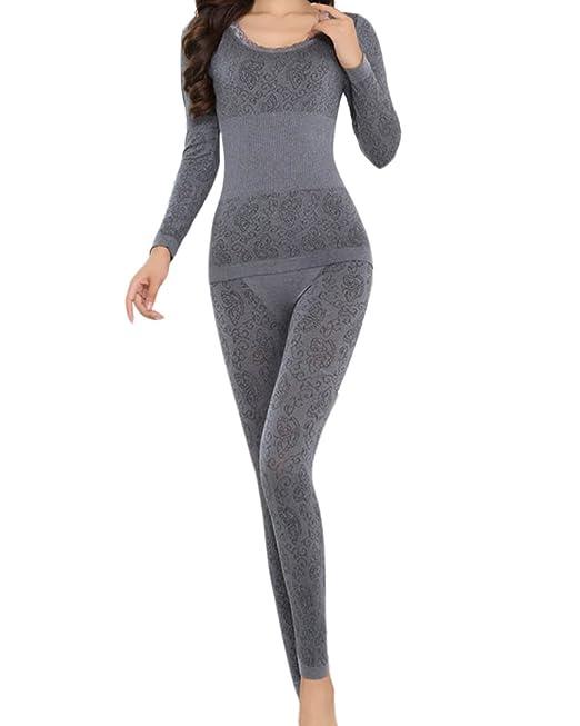 SaiDeng Invierno Mujer Cuello Redondo Conjunto Termico Larga Ropa Interior Conjunto De Pijama Gris