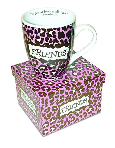 Divinity Boutique Inspirational Ceramic Mug - Friends Leopard, Proverbs 17:17, A Friend Loves at All Times, Multicolor (Friends Love At All Times Bible Verse)