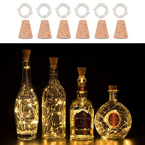 Cork Lights for Wine Bottle LED 6 Pack, Timing Function 3rd Generation Silver Wire Starry Fairy Lights For Bottle DIY Christmas Halloween Wedding Birthday Party Indoor Outdoor Decoration