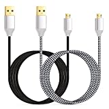 Micro USB Charger, Eversame 2-Pack 6Ft 1.8M Nylon Braided Micro USB Data Sync Charging Cable with Gold-Plated Connectors For Samsung Galaxy Note 4/S4, HTC One M9, LG V10, Nexus(Black White)