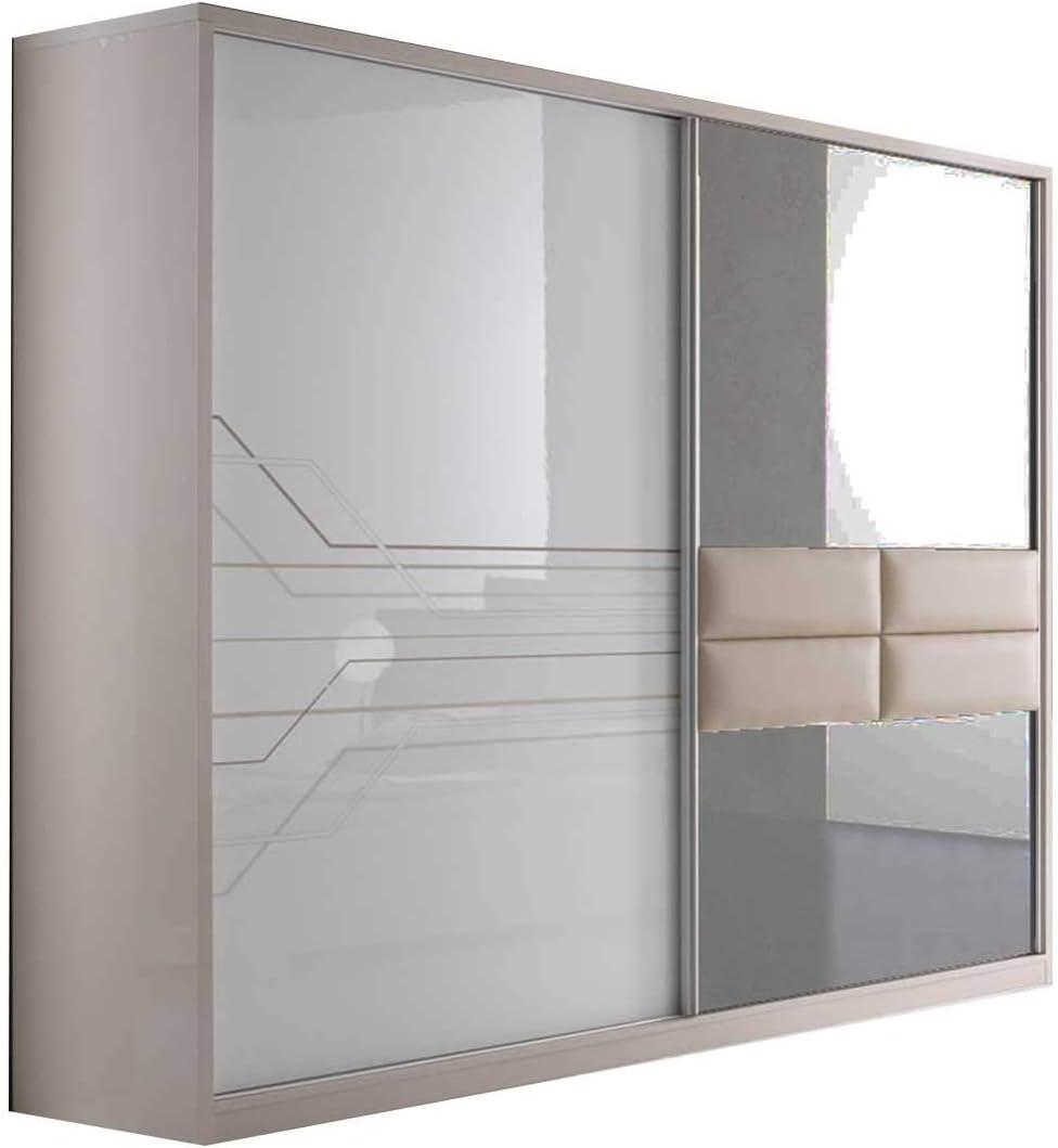 Thomas - Mueble de dormitorio moderno lacado blanco y beige: Amazon.es: Hogar