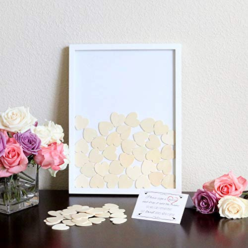 Wedding Alternative Heart Drop Guest Book - Wooden Frame, 2 Large and 70 Small Hearts, Instruction Sign Included (Drop Frame)