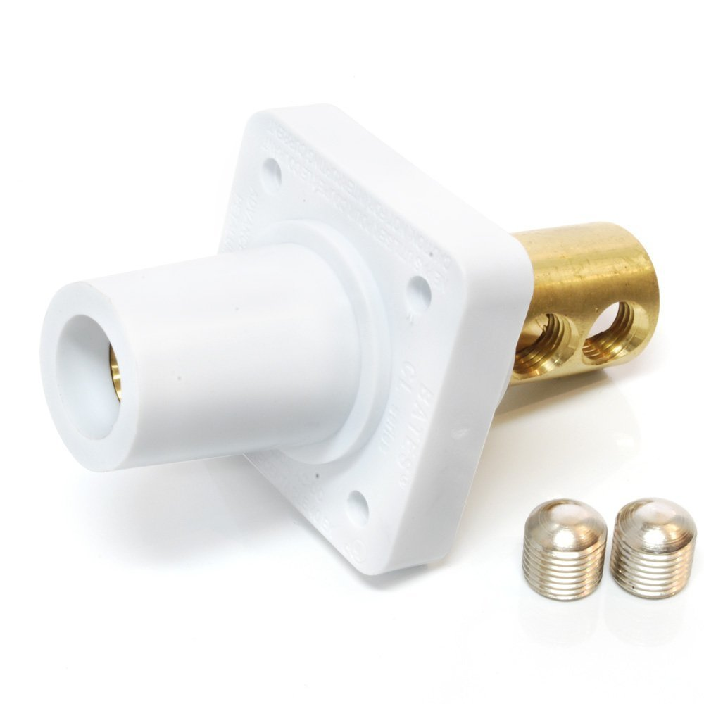 Marinco CL40FRB-BX CL Cam Type, Panel Mount, 400 Amp, 600 Volt, 2/0 - 4/0 AWG double set screw, Female - White (B)