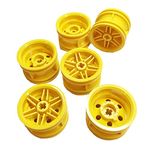 Lego Parts: Wheel Rim 30.4mm x 20mm Reinforced with No Pin Holes (Service Pack of 6 - Yellow)