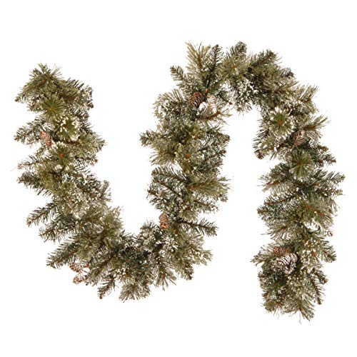Green Garland Pine - National Tree 6 Foot by 10 Inch Glittery Bristle Pine Garland with Cones (GB1-50-6A-1)