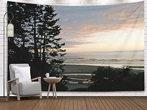 Tapestry Franciscan - Shorping Large Tapestry,Wall Tapestry, 80x60Inches Home Art of Cotton for Décor Living Room Dorm Trees at Sunset Patricks Point State Park California USA
