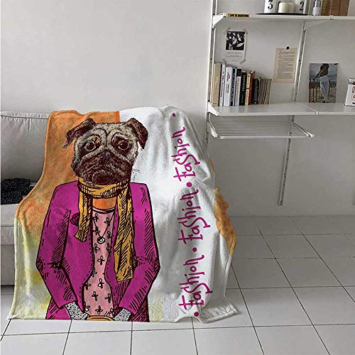 Pug Digital Printing Blanket Fashion Icon Dog with Cool Clothes Scarf Necklace Jacket Handbag Tainted Background Summer Quilt Comforter 62x60 Inch Hot Pink Amber