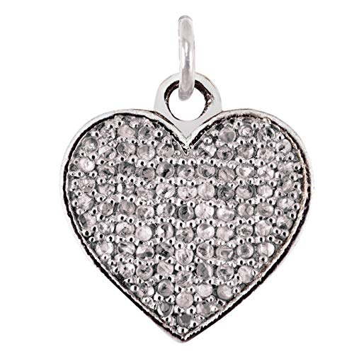 Aurex 0.36 Carat Pave Rose Cut Natural Diamond (White Colour, SI1-SI2 Clarity) 925 Sterling Silver Antique Finish Heart shape Pendant for Women and Girls