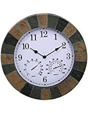 Finderomend Indoor/Outdoor Clock,14 Inch Waterproof Wall Clock with Thermometer and Hygrometer Combination Weatherproof Decorative Living Clock for Garden, Patio, Pool, Lanai, Fence(Quartz Movement)