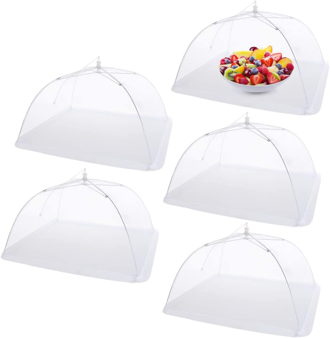 Mesh Food Covers for Outdoors 17'' Pop-Up Food Cover Tents Umbrella Reusable Protector Collapsible Screens Canopies for Plates Parties Picnics Bugs, 5 Pack