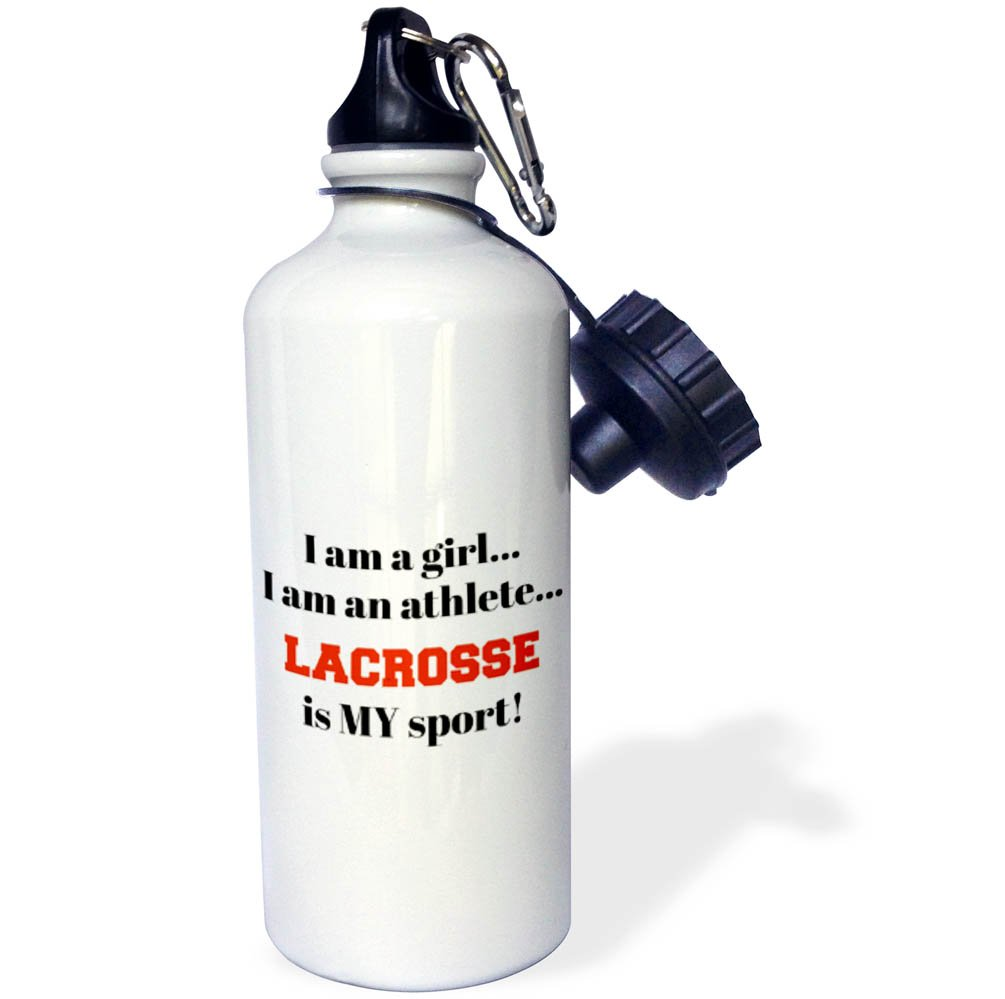 3dRose wb_265931_1 I Am a Girl, I Am an Athlete, Lacrosse Is My Sport, Black Red Letters Water Bottle