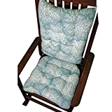 Rocking Chair Cushions - Ariel Fan Coral Ocean Blue - Extra-Large/Presidential - Reversible, Latex Foam Fill - Made in USA (Aqua)