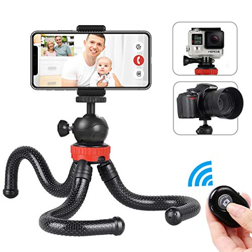 Phone Tripod, Foaber Flexible Portable Travel Octopus Tripods with Bluetooth Wireless Remote Shutter, Compatible with…