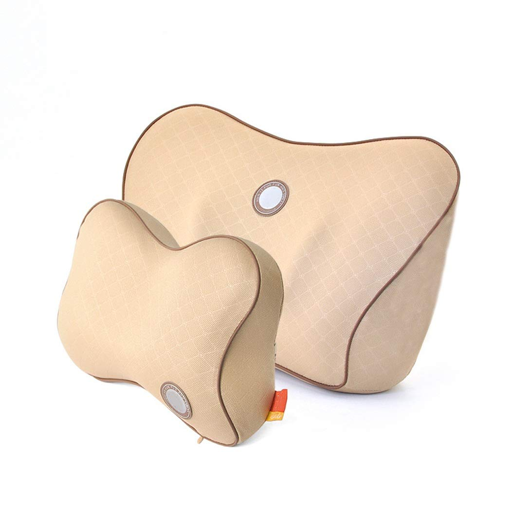 HUIFEI Car Negative Ion Memory Cotton Headrest Lumbar Pillow Breathable Neck Protector Waist Pillow High-end car seat Cushion (Color : Beige)