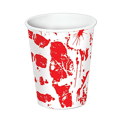 Beistle Halloween Party Decoration Bloody Handprints Cups 9 Oz.- Pack of 12