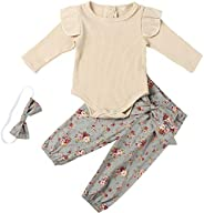 YJZIWX 3PCS Newborn Baby Girl Romper Jumpsuit Bodysuit + Floral Pant + Headband Outfit Set