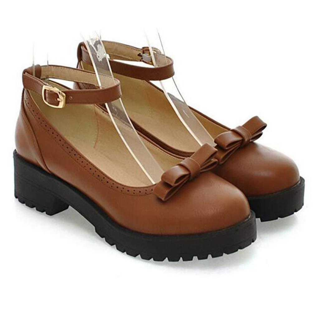 Femmes Chaussures Simples Bow Lolita Bouche Peu Profonde Mary Jane Chaussures /él/ève Talons Hauts Escarpins en Cuir