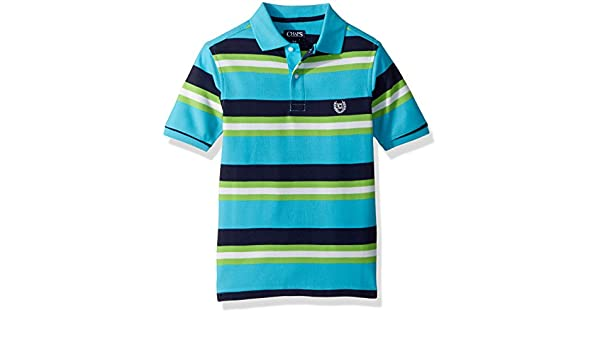 Chaps Boys Big Short Sleeve Striped Polo with Stretch, Turquoise ...