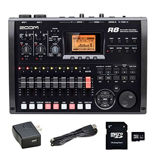 Zoom R8 8-Track Digital Recorder with EV Music 32gb SD Card