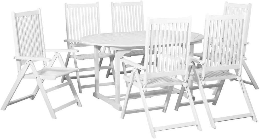 vidaXL Comedor de Jardín 7 Piezas Madera Blanca con Mesa Extensible Mobiliario