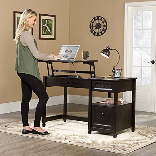 Sauder 422377 Edge Water Lift Top Desk, L: 50.79'' x W: 23.47'' x H: 30.75'', Estate Black finish