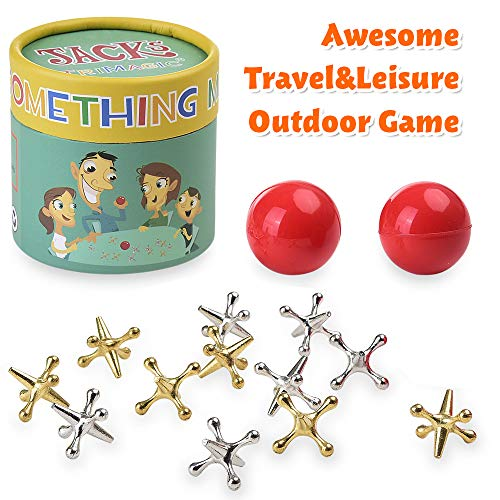 TriMagic Jacks Game with Balls for Kids and Adult, Funny Vintage Party Toy Games, Include 12 Gold & Silver Metal Jacks and 2 Red Rubber Bouncy Balls