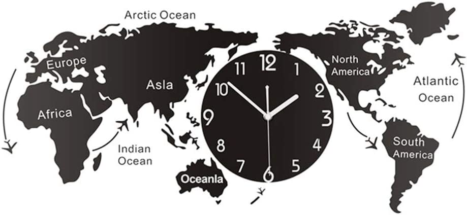 LIOOBO World Map Wall Clock Decorative Hanging Clock Modern Wall Art Decoration for Home Office Cafe Hotel Size L (Without Batteries)