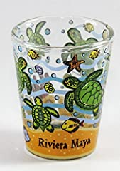 "Here's a very rare and hard to find souvenir collectible shot glass from Riviera Maya Mexico. It's a 5x6cm style shot glass measuring 2.25"" tall and 1.8"" in diameter."