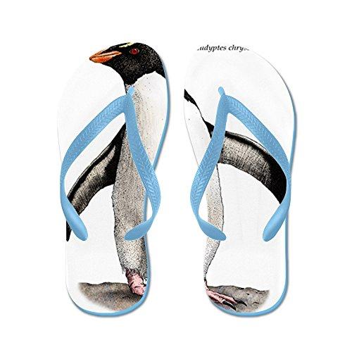 Cafepress Pinguino Rockhopper Del Sud - Infradito, Sandali Infradito Divertenti, Sandali Da Spiaggia Blu Caraibico