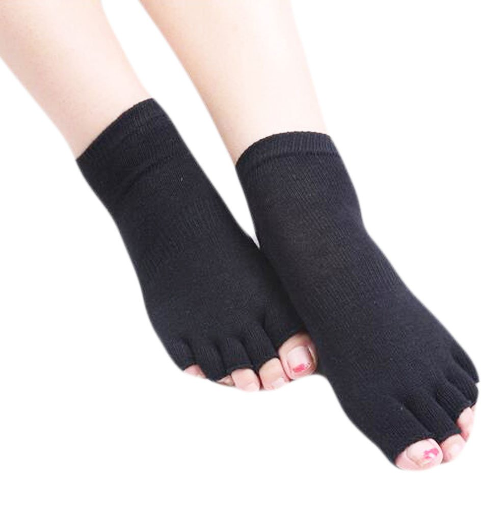 Black Cotton Toe Yoga Socks Non Slip Fashion Warm Socks