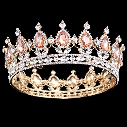 Price comparison product image Ulike2 King/queen Crown Red Ruby Stone Sapphire Tiaras Gold/silver Plated Hair Jewelry (15#)