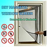 Adjustable DIY Magnetic Window Screen fit windows Up to 48x40 Inch