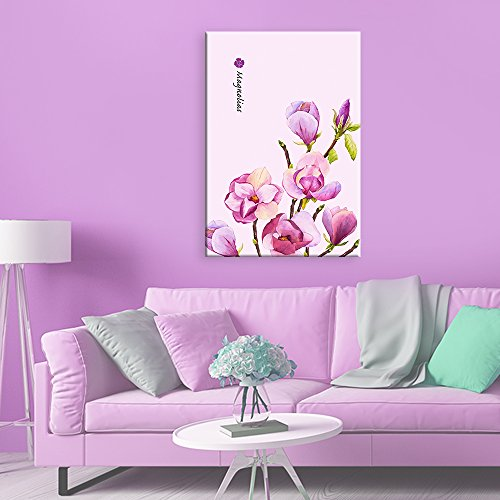 Watercolor Style Pink and Purple Magnolias Flowers