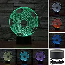 Football Soccer Colorful Sport Patterns Acrylic Visual Touch Table Lamp Bar Art Decor USB 3D LED Desk Night Light 3D-TD20