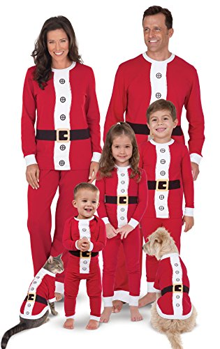 PajamaGram Matching Christmas Pajamas for Family - Santa, Red, Women's, M, 8-10