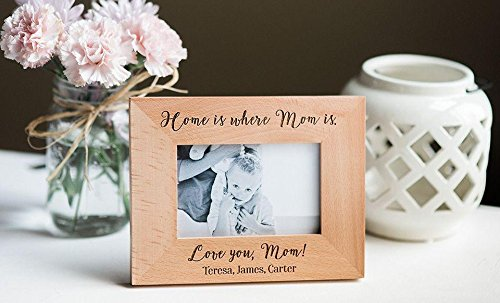 Qualtry Personalized Engraved Mom Picture Frame - Sentimental Mother's Day and Mother of The Bride Wedding Gift (Home is Where mom is Design) by Qualtry