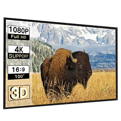 Perlesmith 100 Inch Projector Screen, Diagonal 16:9 HD Simple Portable Collapsible Widescreen, for Home Theater Cinema Indoor Outdoor HD Movie PVC Screen