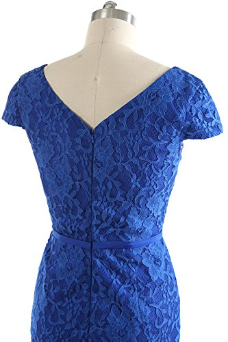 Bride Wedding Women Cap Vintage Blue Dress Royal Short Lace Mother MACloth of Sleeve Party avHq8RqxW