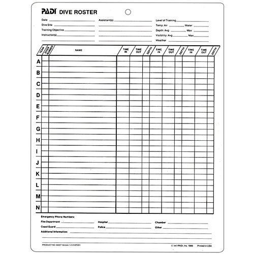PADI Dive Roster Slate (60227)