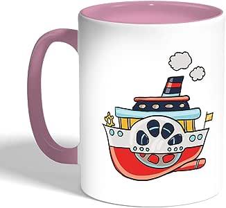 كوب سيراميك للقهوة، لون بنك،  بتصميم باخرة