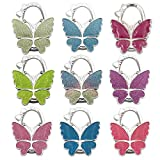 Reizteko Purse Hook,Matt Butterfly Foldable Handbag Purse Hanger Hook Holder for Tables (Pack of 9)