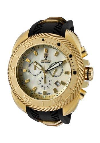 Mop Dial Chronograph Black - Imperious Imp1032 Men's Gear Head Chronograph Champagne Mop Dial Black Polyurethane Watch