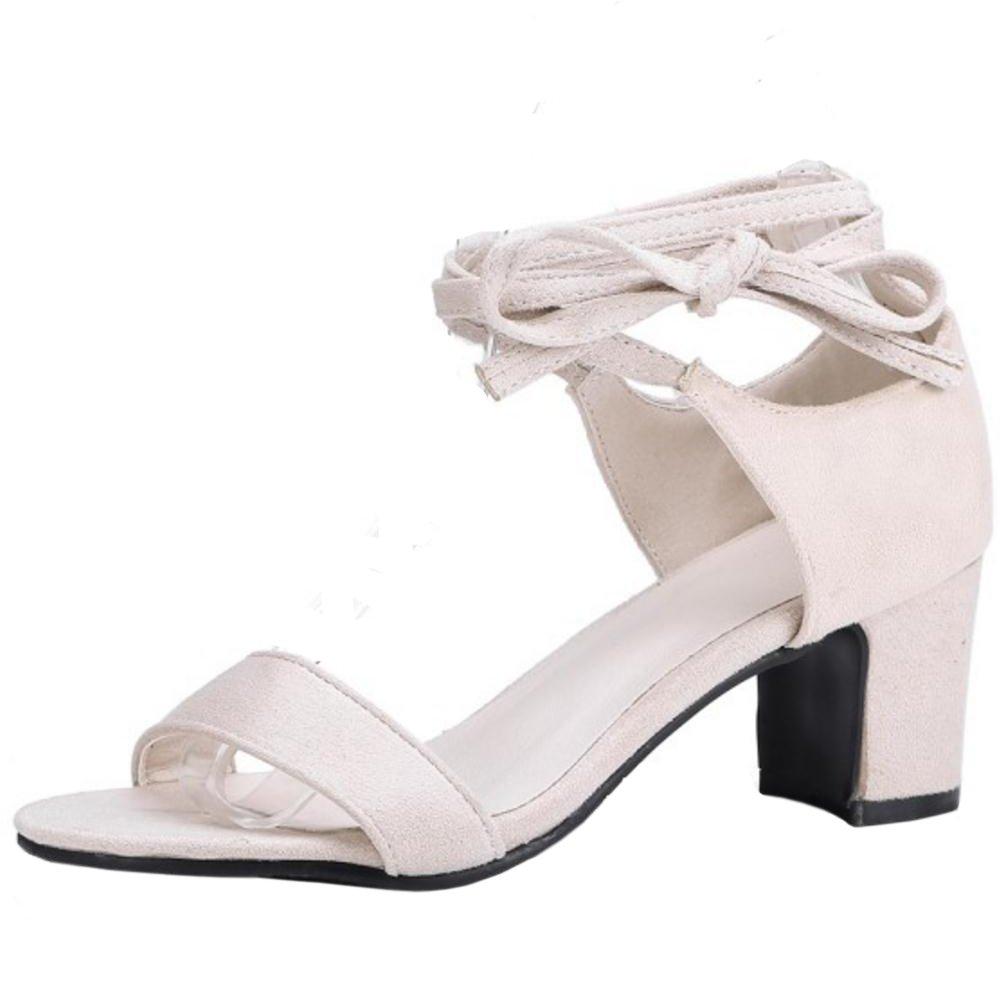 TAOFFEN Damen Schnurung Sandalen Sommer Schuhe Absatz  39 EU|Beige-2