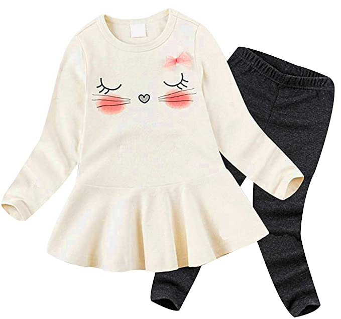 a28e7c92945e BomDeals Cute Cat Elephant Print Toddler Baby Girls Clothes Set,Long Sleeve  T-Shirt